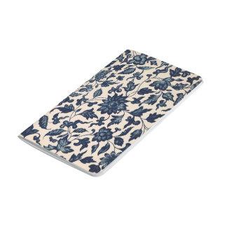 Diario floral asiático azul hermoso cuaderno