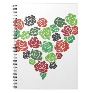 Diario floral color de rosa del cuaderno del