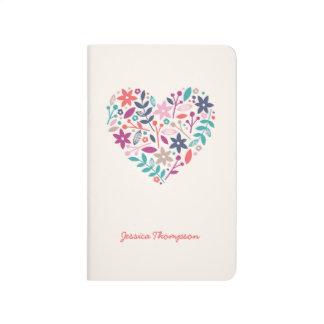 Diario floral del bolsillo del corazón cuaderno grapado