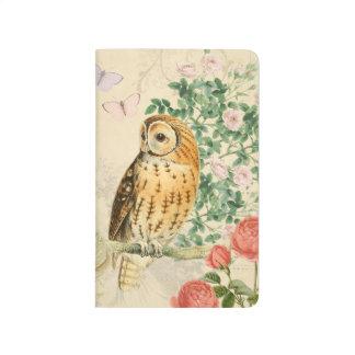 Diario floral del búho del vintage con los rosas cuadernos