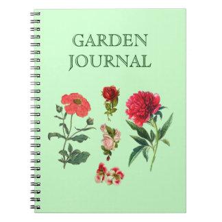 Diario floral del jardín con las flores de los ros libretas