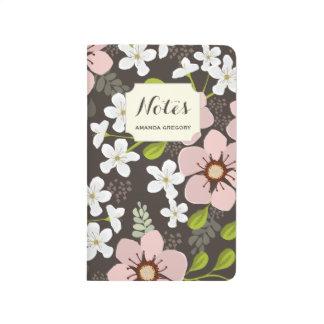 Diario floral personalizado jardín rosado de la cuadernos grapados