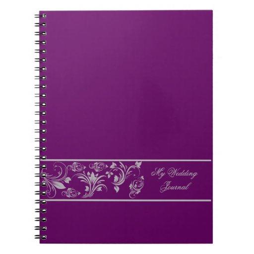 Diario floral púrpura y de plata del boda de la spiral notebook