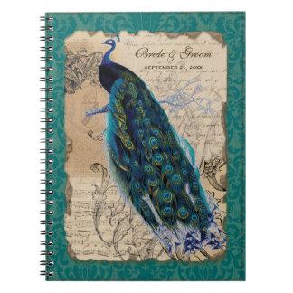 Diario formal del planificador del boda del pavo r libro de apuntes