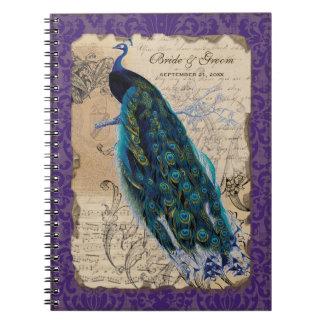 Diario formal del planificador del boda del pavo r libreta
