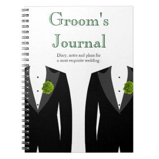 Diario gay del boda del novio verde del clavel libro de apuntes con espiral