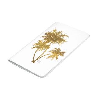 Diario metálico de moda elegante de las palmeras cuadernos grapados