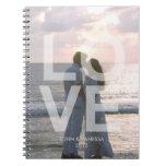 Diario moderno del boda de la foto del AMOR de enc Libretas