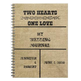 Diario occidental del boda de la arpillera spiral notebooks