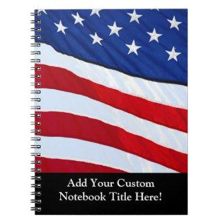 Diario patriótico personalizado de la bandera amer libreta espiral