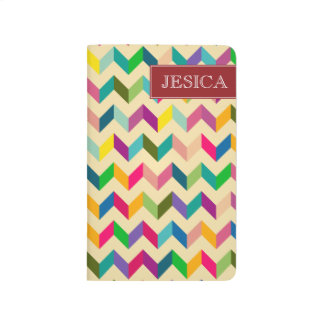 Diario personal de Chevron del zigzag retro Cuadernos Grapados