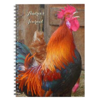 Diario personal del gallo colorido de la granja libretas espirales