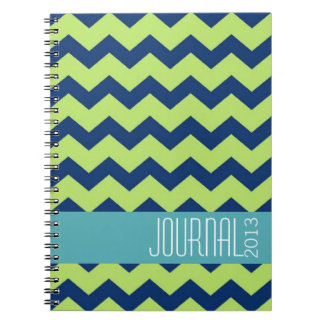 Diario personal moderno del verde azul del modelo  libro de apuntes con espiral