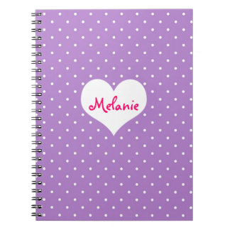 Diario personalizado corazón púrpura de muy buen g spiral notebook