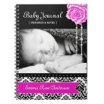 Diario personalizado del bebé del damasco libro de apuntes con espiral