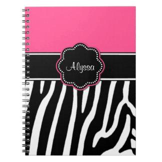 Diario personalizado estampado de zebra rosado libros de apuntes