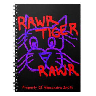 Diario personalizado gato del TIGRE RAWR del Libretas