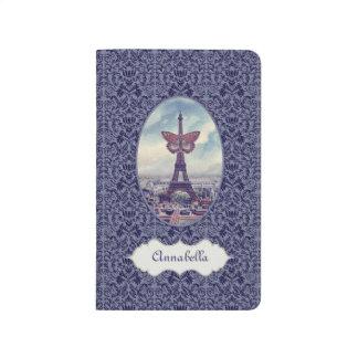 Diario personalizado mariposa de París del vintage Cuadernos Grapados