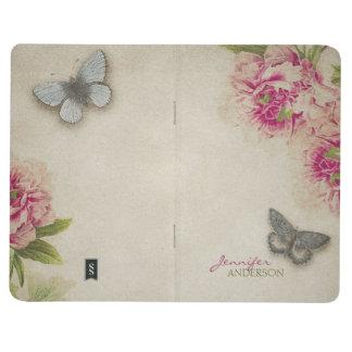 Diario personalizado mariposa elegante del Peony d Cuadernos Grapados