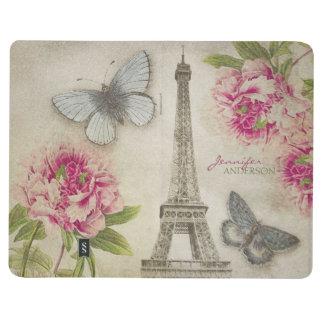 Diario personalizado París elegante del vintage Cuadernos Grapados