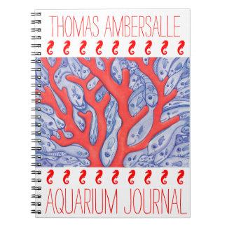 Diario personalizado pescados felices del acuario libros de apuntes con espiral