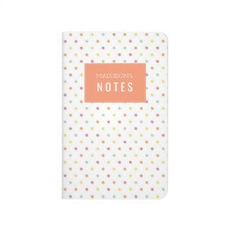 Diario personalizado Polkadot del cuaderno de