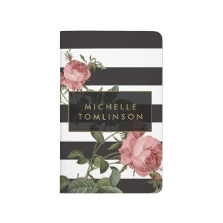 Diario personalizado rayado floral del bolsillo cuadernos grapados