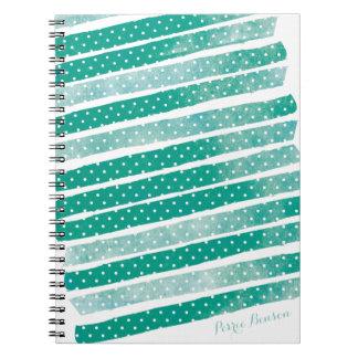 Diario personalizado rayas de la acuarela del libreta espiral