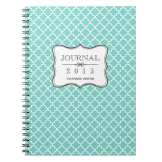 Diario personalizado teja marroquí azul del trullo spiral notebook
