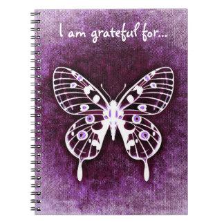 Diario púrpura de la gratitud de la mariposa libretas espirales
