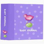 Diario púrpura del bebé del pájaro rosado
