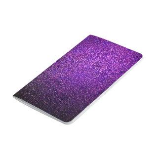 diario púrpura del cuaderno del brillo