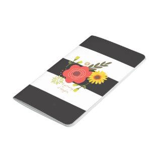 Diario rayado blanco y negro con las flores cuadernos grapados