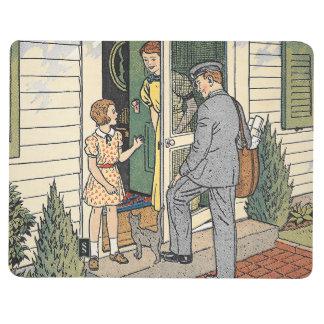 Diario retro del ejemplo de libro del cartero del cuaderno