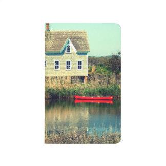 Diario rojo del bolsillo de la canoa cuadernos