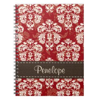 Diario rojo marrón del cuaderno espiral del damasc