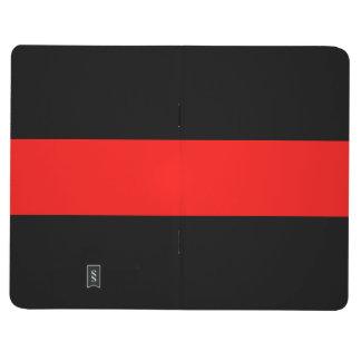 Diario rojo rayado ajustable del bolsillo del negr cuaderno grapado