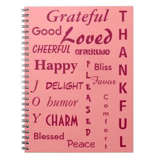 Diario rosado de la gratitud cuadernos