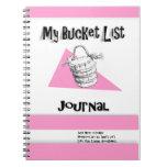 Diario rosado de la lista del cubo de las señoras libretas espirales