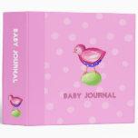 Diario rosado del bebé del rosa del pájaro