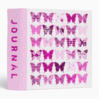 """Diario rosado del collage de la mariposa carpeta 1 1/2"""""""