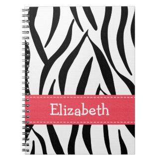 Diario rosado del cuaderno de la impresión de la p