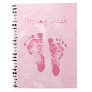 Diario rosado femenino lindo del embarazo de las h libros de apuntes con espiral