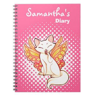 Diario rosado personalizado gatito de hadas de la  libros de apuntes con espiral