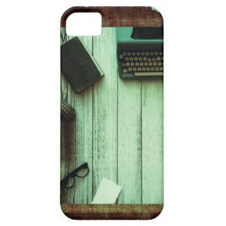 Diario rústico bonito de la máquina de escribir funda para iPhone SE/5/5s