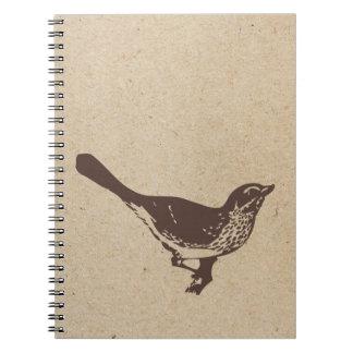 diario sellado tinta de la observación de pájaros libro de apuntes con espiral