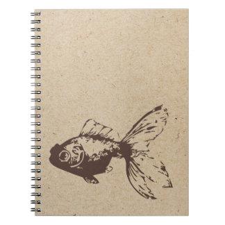 diario sellado tinta de los pescados del oro libretas