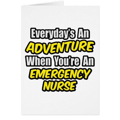 Diario una enfermera de la emergencia de la aventu tarjeta de felicitación
