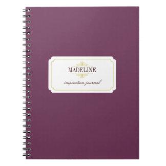 Diario verde púrpura de la inspiración de la toler libreta espiral