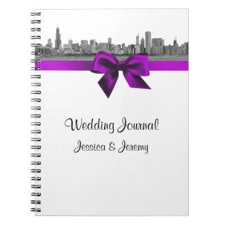 Diario violeta del cuaderno de Etchd BW del